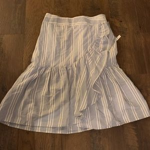 A new day blue cream stripe ruffle flare skirt